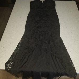 VENUS mermaid strapless sequin high low dress
